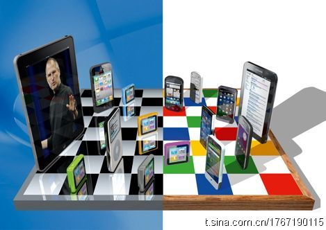 apple or Google in a chess board