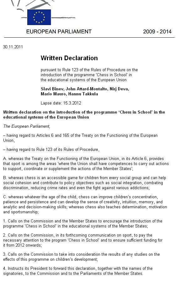Written declaration , chess-in-schools