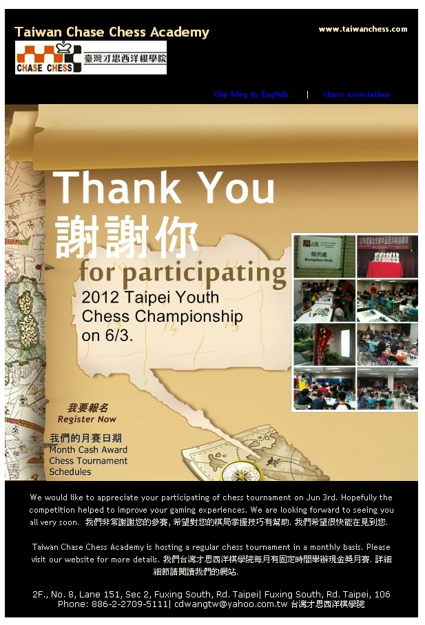 Thnak you for participating our chess tournament.