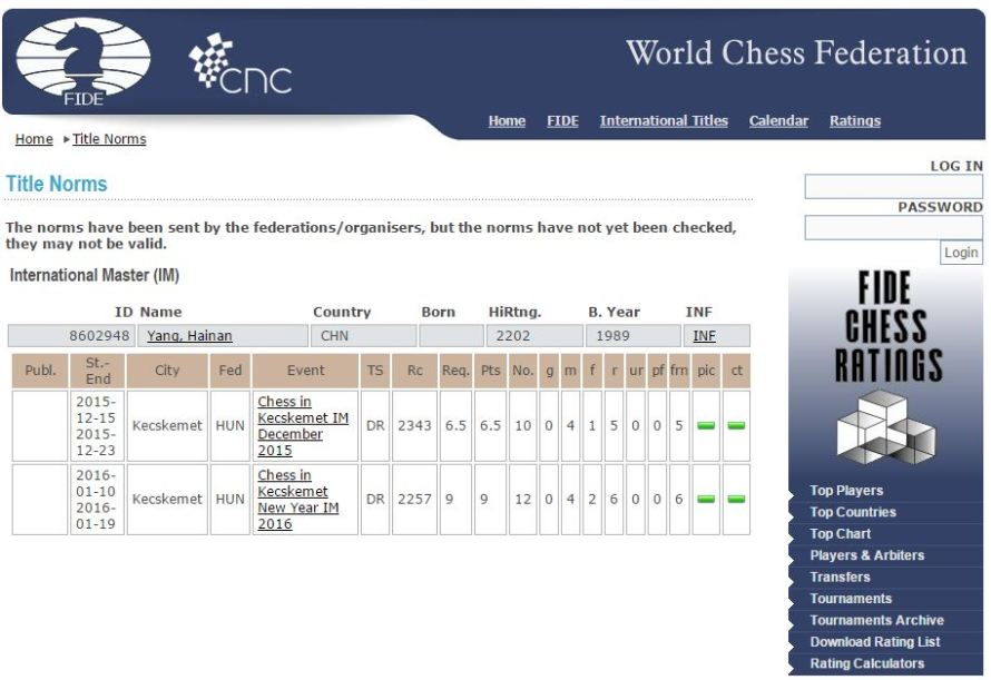 FIDE announcement