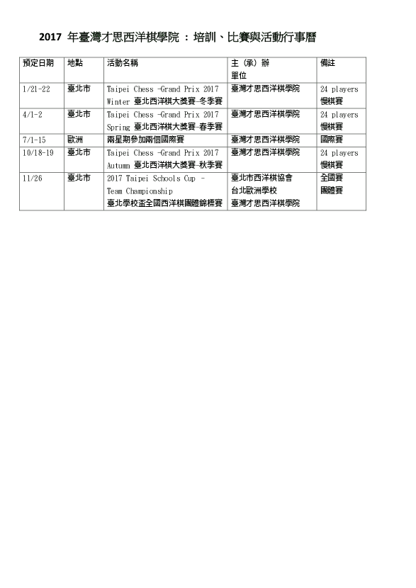 2017 Calendar of Taiwan Chase Chess Academy