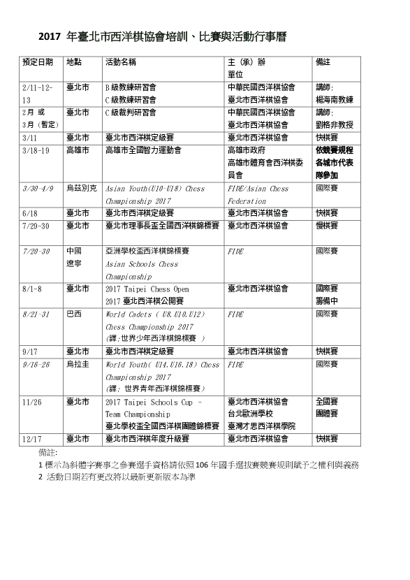 2017 Taipei Chess Association Calendar
